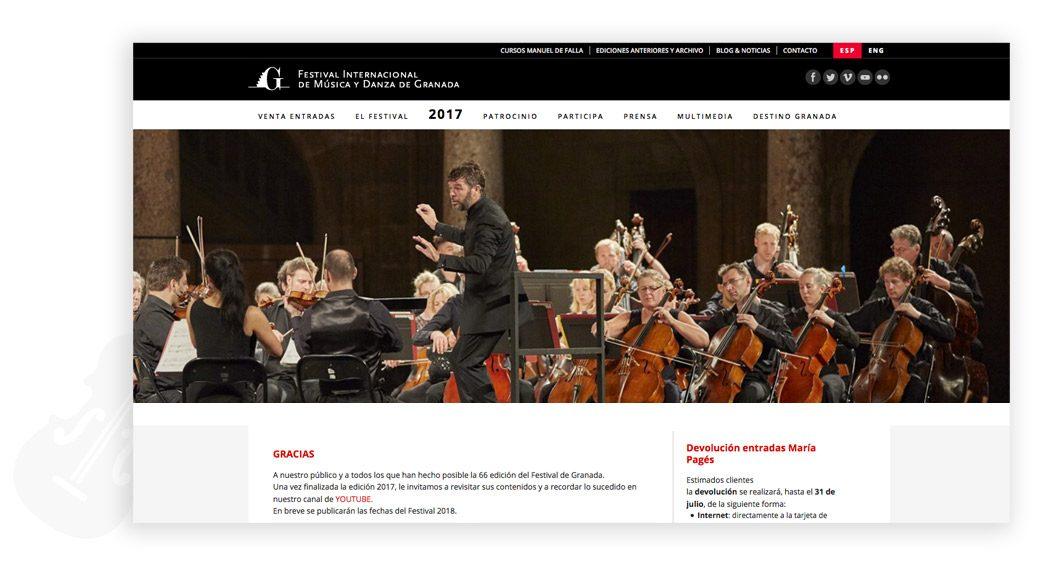 Web del Festival de Música y Danza de Granada
