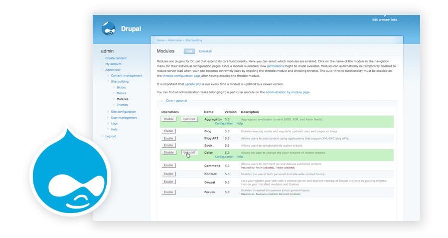 Captura de la web oficial de Drupal