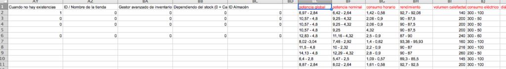 columnas adicionales en Excel para las características