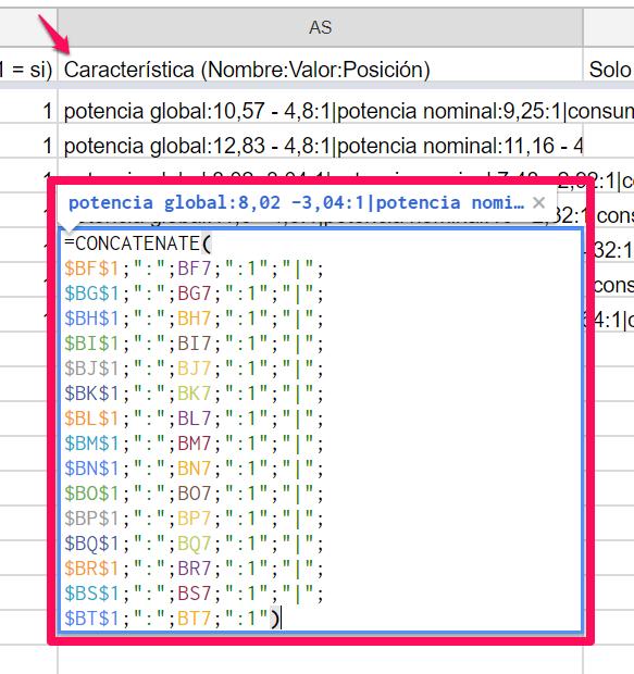 fórmula para concatenar características