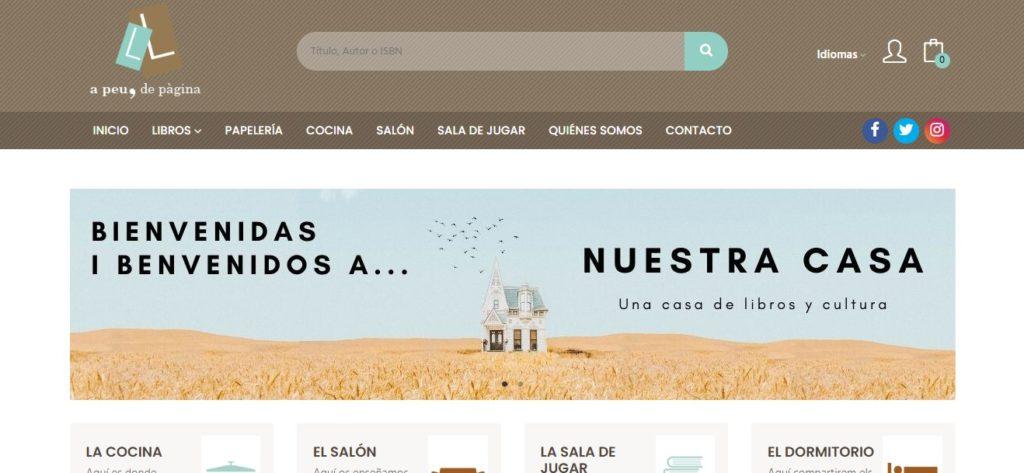 Nueva web de la librería A peu de pàgina