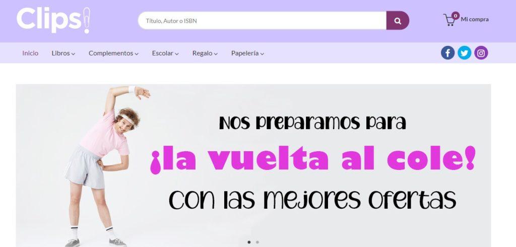 Nueva web de la librería y papelería Clips, de Mérida