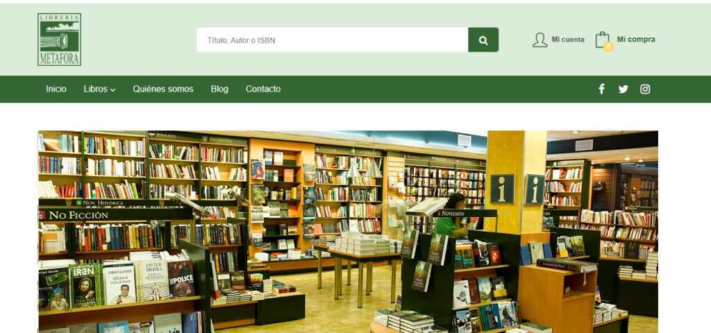 Nueva web de Librería Metáfora