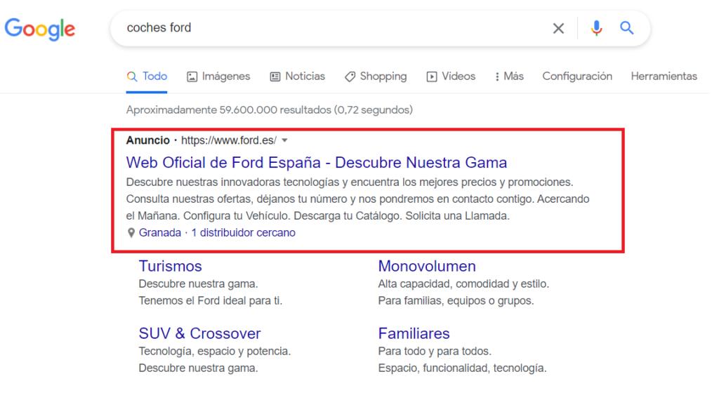 Ejemplo publicidad Google Ads
